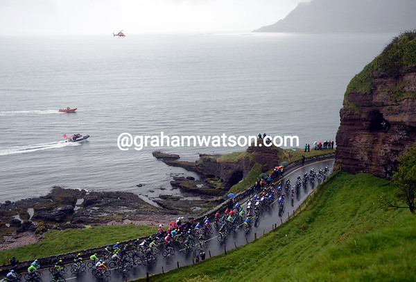 Speed boats and helicopters track the Giro as it continues its way back to Belfast..