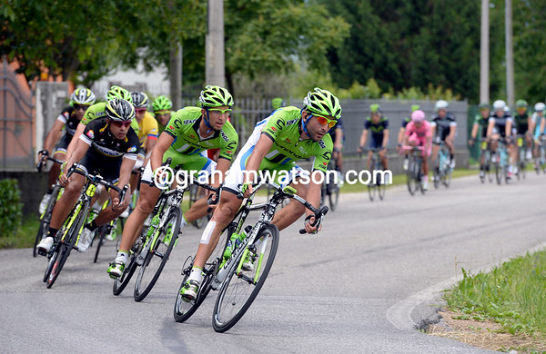Cannondale is leading a furious chase at three-and-a-half minutes, but it's not known for whom they chase...