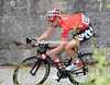 Tim Wellens is racing across the gap, using the climb of the Pura as well as the descent...
