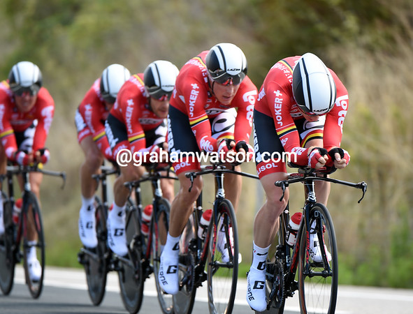 "Lotto-Belisol were the lowest-placed World Tour team today - they took 22nd at 4' 11.15""..."