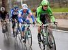 Maarten Tjallingii leads what is now a five-man escape as the rain pours down again...