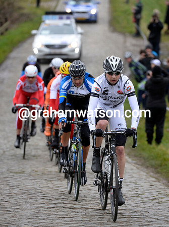 Christophe Laborie leads the escape on to the first cobblestones after 70-kilometres...