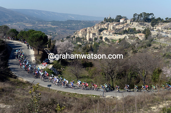 The peloton races away from Bonnieux, unknowing of its beauty on such a beautiful day...