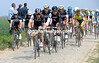 Markel Irizar leads the chase for Trek on the cobbles south of Arenberg...