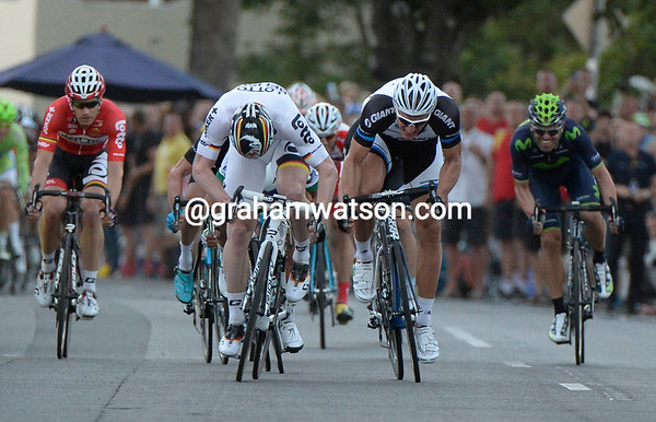 The final sprint seems to be between two very big German cyclists..!