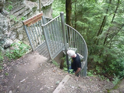 Spiral staircase that leads to lower Greeter Falls.