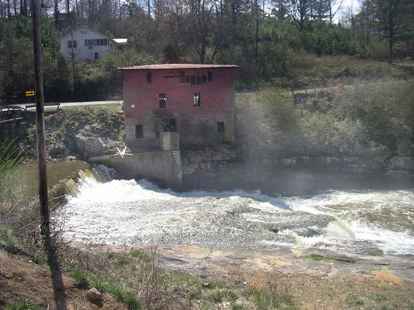 This is at the confluence of Scarham and Shoal creeks.  The red building is the old mill at the site. This is Scarham creek going in a falls past the mill.