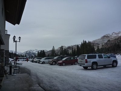 MoonBeam Lift / Ski Academy parking lot with view of mountains.