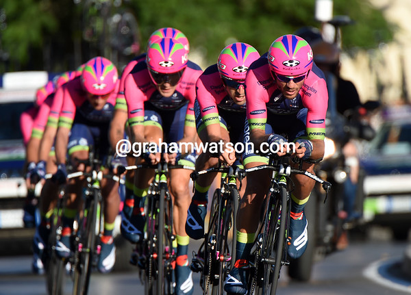 Lampre-Merida took 19th place, 25-seconds down...