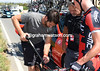 Domenik Nerz needs his seat-post fixed as well, and the BMC mechanic obliges...