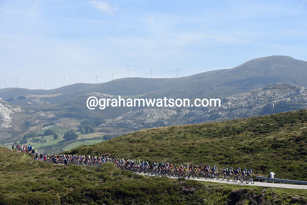 The peloton is led by Green Edge still, no-one has yet stepped in to help...