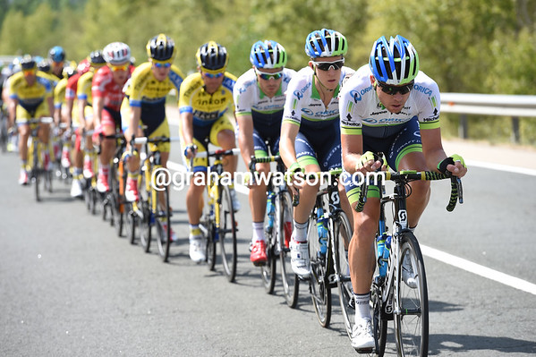 Brett Lancaster is chasing for Orica-Green Edge, keeping the gap to a safe distance...