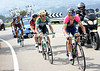 Damiano Cunego has split the escape and now leads a quintet over the Alto de Caracol...