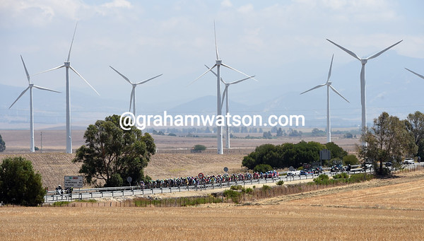The Vuelta is still in the land of the wind farms - and there are thousands of them..!