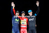Alberto Contador celebrates his third Vuelta a España victory with Chris Froome and Alejandro Valverde