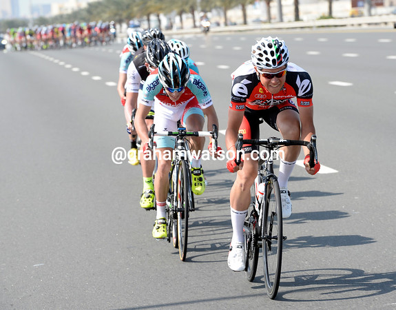 Alexandr Piliuschin leads an early escape away on the ring-road of Dubai...