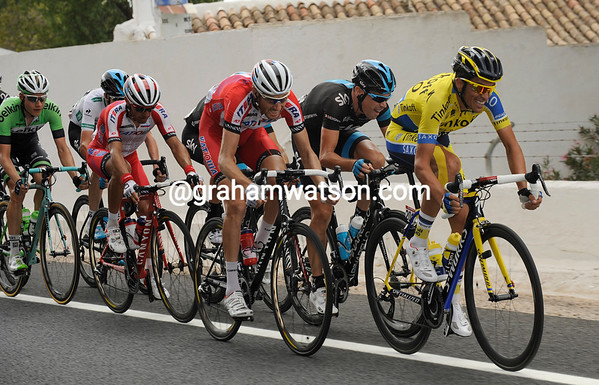 Alberto Contador is up at the front, but not looking too comfortable as the crosswinds kick-in...