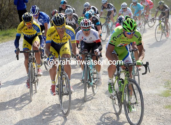 Peter Sagan shows himself for the first time on section eight - he has Kwaitkowski on his wheel...