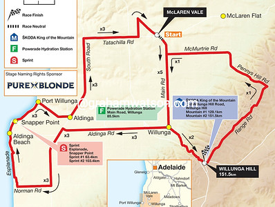 Tour Down Under Stage 5: McLaren Vale > Willunga Hill, 151kms