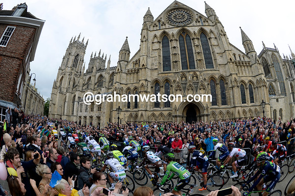 The peloton starts its second Yorkshire stage in the city of York...