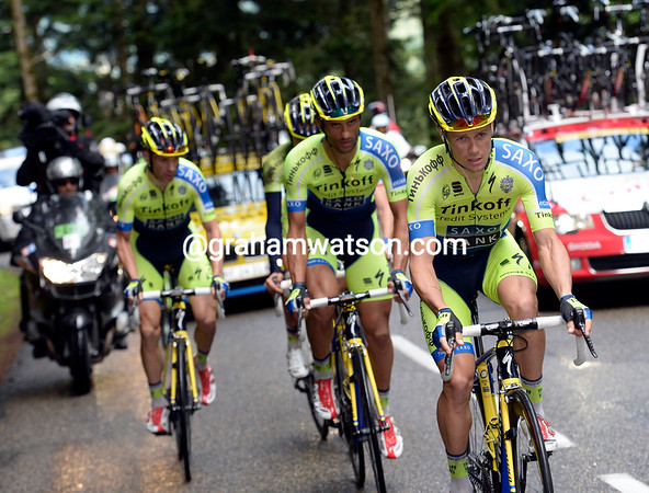 The entire Tinkoff team has been called back to help Contador...