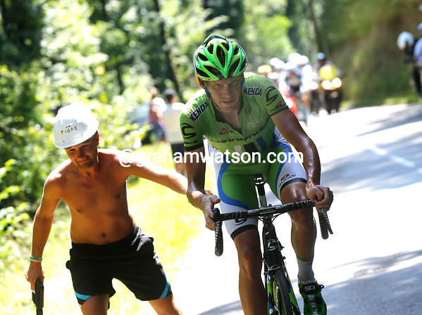 De Marchi is still out in front on the final climb to Chamrousse, but not by much...