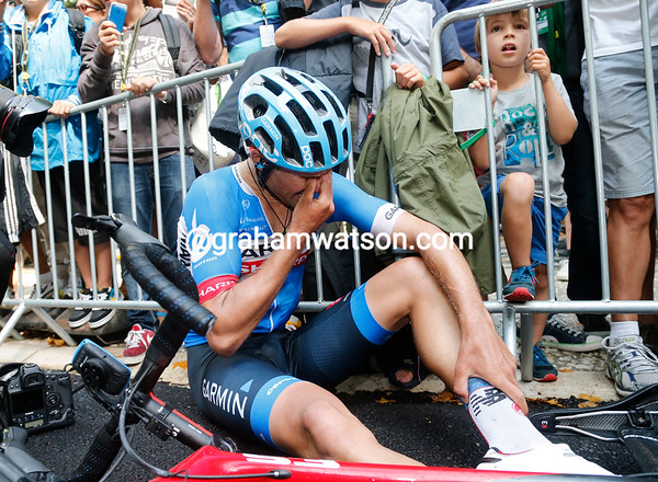 Bauer drops to the ground with exhaustion - but with sadness too...