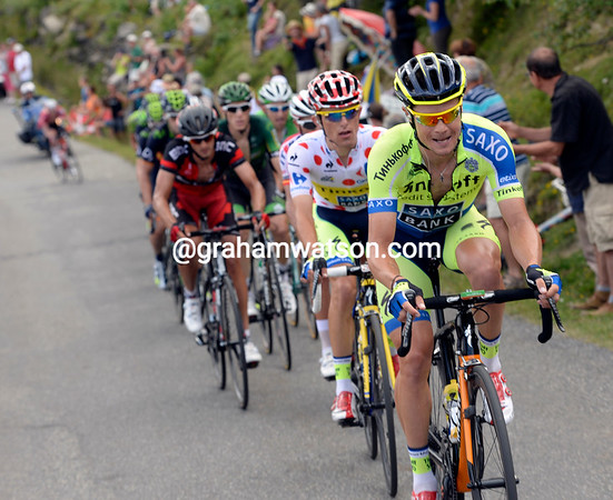Roche and the others are closing-in on Kiryienka on Val Louron, he'll be caught before the top...