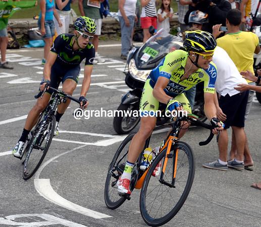 Nico Roche is trying to get across to Kiryienka with Herrera on his wheel...
