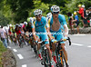 A tired-looking Jacob Fuglsang is leading Astana's train on the lower-slopes of the Col du Tourmalet...
