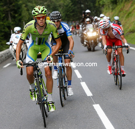 Alessandro De Marchi is making a get-away ahead of the escape on the Tourmalet...