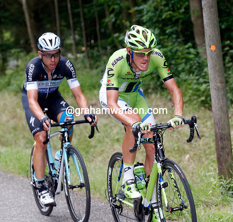 De Marchi leads Martin over the next climb, the Wettstein - they have built a one-minute's lead...