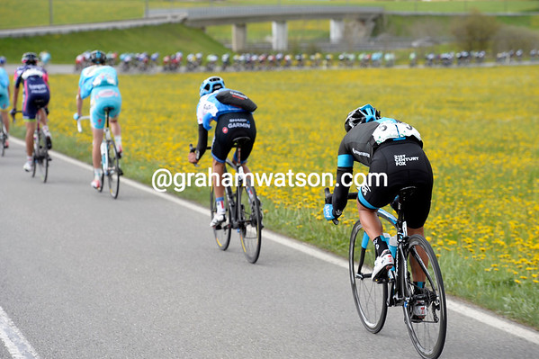 Richie Porte is struggling at the back of the Orica-Green Edge led pace...