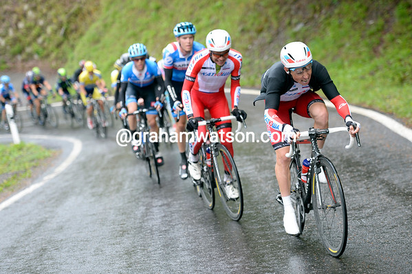 Silin leads a Katusha assault towards the top of the penultimate climb - they've shattered the peloton for good today..!