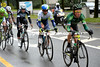 Thomas Voeckler leads the day's early escape away from the new start...