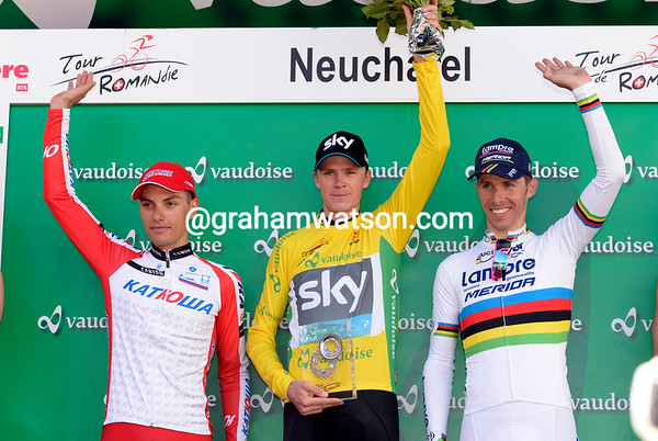 Chris Froome looks more than content on the podium with runner-up Simon Spilak and 3rd-placed Rui Costa