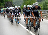 Tom Boonen leads the Omega team in pursuit of the escape - they're climbing the St Gotthard Pass with a five-minute deficit...