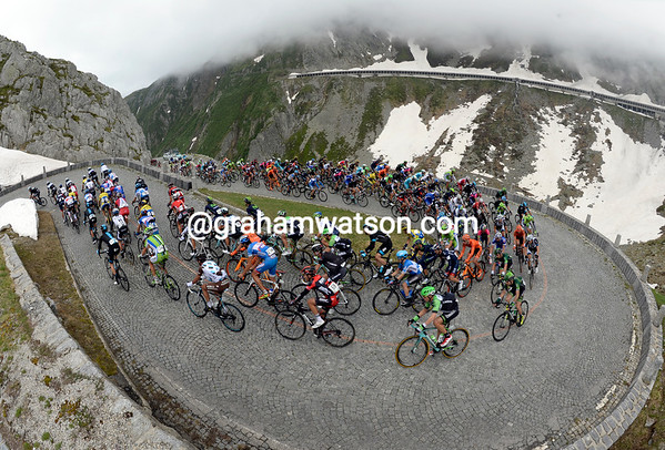 Omega is still leading the peloton up the St Gotthard Pass, but the incline is starting to bite...