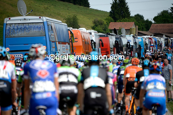 On such a quiet stage, the temptation of climbing into the team buses with 60-kilometres to go must be on everyone's minds...