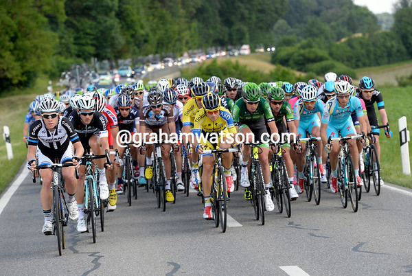 The peloton is barely racing with 25-kilometres to go...