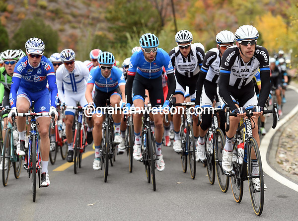 Giant-Shimano and Garmin lead the way over the summit...