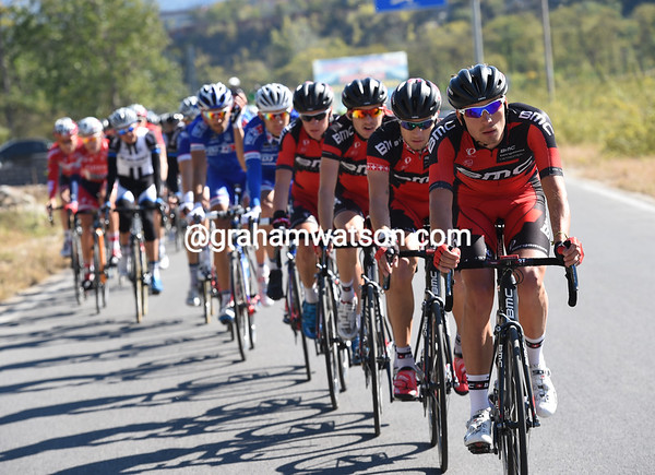 Rick Zabel leads the BMC team in pursuit, less than four minutes behind...