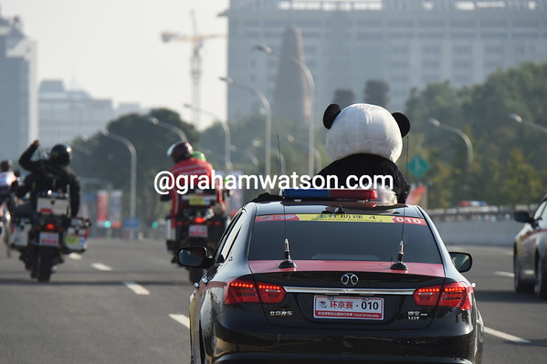 The Tour of Beijing panda is following the race close-up today...