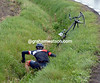 Martin Elmiger has slipped off on wet roads and fallen into a ditch..!