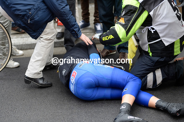 Johan LeBon has crashed, but he'll make a recovery of sorts and continue...