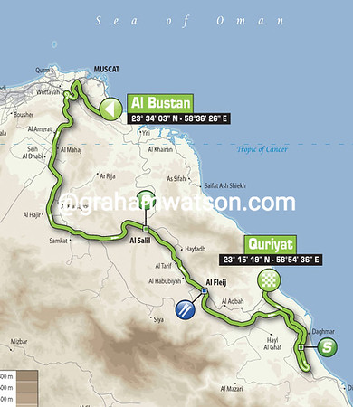 Tour of Oman Stage 2: Al Bustan > Quriyat, 139kms