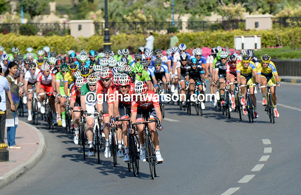 The trains of Lotto and Tinkoff lead the last-lap charge...