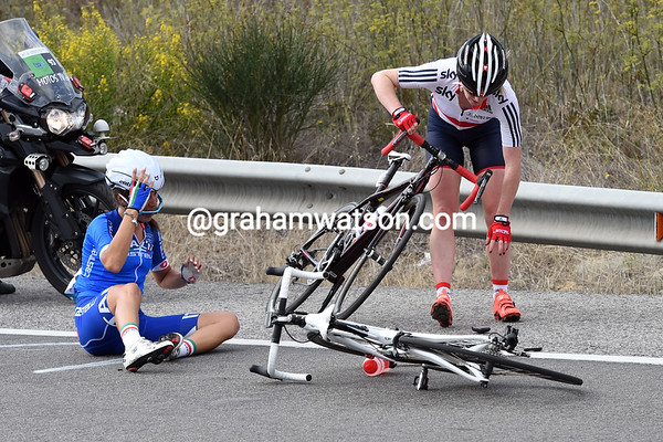 Another crash has taken Checcini and a British rider down to the ground...