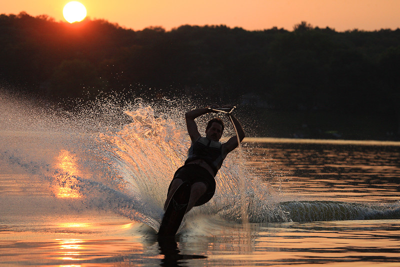 Water skiing sunset