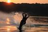 Water skiing sunset